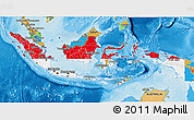 Flag 3D Map of Indonesia, political outside