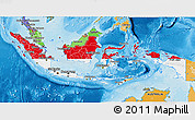 Flag 3D Map of Indonesia, political shades outside