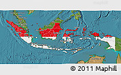 Flag 3D Map of Indonesia, satellite outside