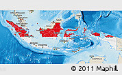 Flag 3D Map of Indonesia, shaded relief outside
