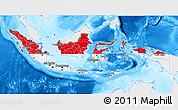 Flag 3D Map of Indonesia, single color outside, bathymetry sea