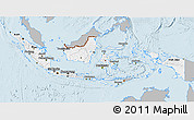 Gray 3D Map of Indonesia, single color outside