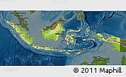 Physical 3D Map of Indonesia, darken