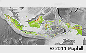 Physical 3D Map of Indonesia, desaturated
