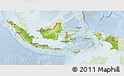 Physical 3D Map of Indonesia, lighten