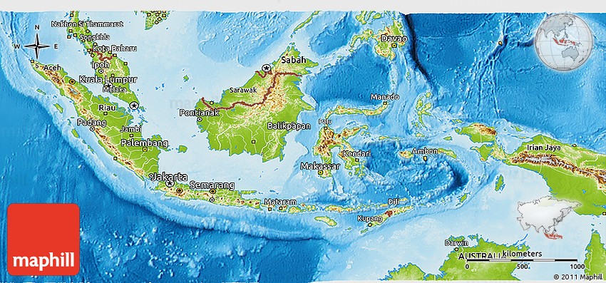 Physical 3D Map of Indonesia on vector map indonesia, tv indonesia, travel map indonesia, satellite indonesia, map with physical features of indonesia,