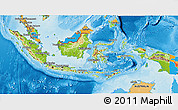 Physical 3D Map of Indonesia, political outside, shaded relief sea