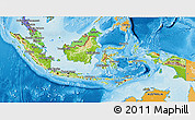 Physical 3D Map of Indonesia, political shades outside, shaded relief sea