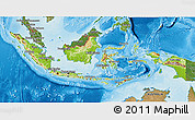 Physical 3D Map of Indonesia, satellite outside, shaded relief sea