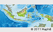 Physical 3D Map of Indonesia, semi-desaturated, land only