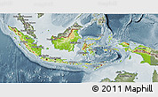 Physical 3D Map of Indonesia, semi-desaturated