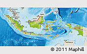 Physical 3D Map of Indonesia, shaded relief outside