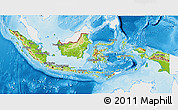 Physical 3D Map of Indonesia, single color outside