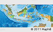 Political 3D Map of Indonesia, satellite outside, bathymetry sea