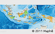 Political 3D Map of Indonesia, shaded relief outside, bathymetry sea
