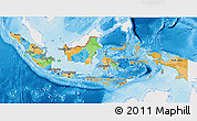 Political 3D Map of Indonesia, single color outside