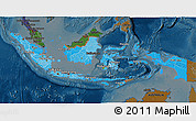 Political Shades 3D Map of Indonesia, darken