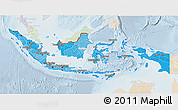 Political Shades 3D Map of Indonesia, lighten