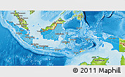 Political Shades 3D Map of Indonesia, physical outside