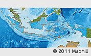 Political Shades 3D Map of Indonesia, satellite outside, bathymetry sea