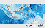Political Shades 3D Map of Indonesia, shaded relief outside, bathymetry sea