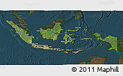 Satellite 3D Map of Indonesia, darken