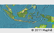 Satellite 3D Map of Indonesia, physical outside, satellite sea