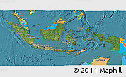 Satellite 3D Map of Indonesia, political outside, satellite sea