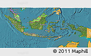 Satellite 3D Map of Indonesia, political shades outside, satellite sea