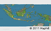Satellite 3D Map of Indonesia, semi-desaturated, land only