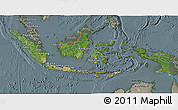 Satellite 3D Map of Indonesia, semi-desaturated