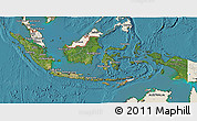 Satellite 3D Map of Indonesia, shaded relief outside, satellite sea