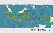 Satellite 3D Map of Indonesia, single color outside