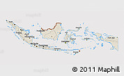 Shaded Relief 3D Map of Indonesia, cropped outside