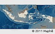 Shaded Relief 3D Map of Indonesia, darken