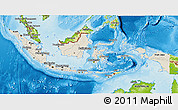 Shaded Relief 3D Map of Indonesia, physical outside