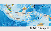 Shaded Relief 3D Map of Indonesia, political outside, shaded relief sea