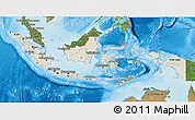 Shaded Relief 3D Map of Indonesia, satellite outside, shaded relief sea
