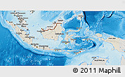 Shaded Relief 3D Map of Indonesia, semi-desaturated, land only