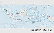 Silver Style 3D Map of Indonesia, single color outside