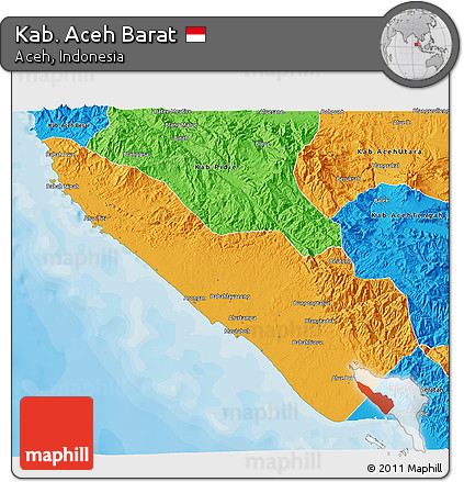 Free Political 3d Map Of Kab Aceh Barat