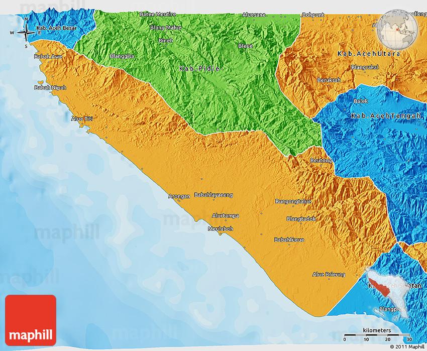 Political 3d Map Of Kab Aceh Barat