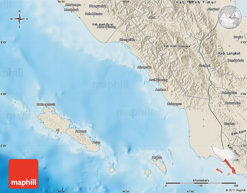 Shaded Relief Map Of Kab Aceh Selatan