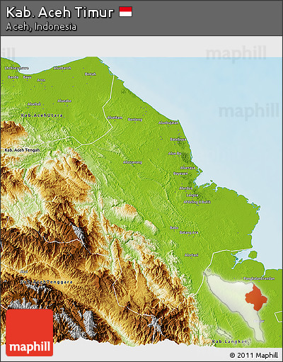 Free Physical 3d Map Of Kab Aceh Timur