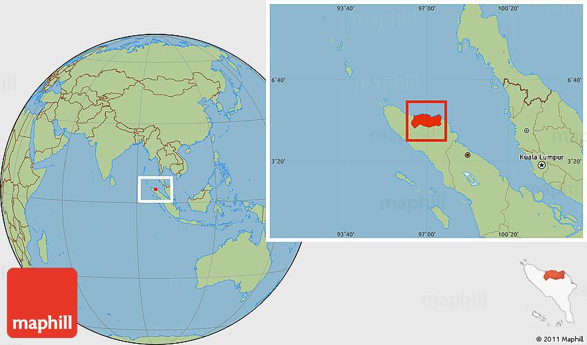 Savanna Style Location Map Of Kab Aceh Utara