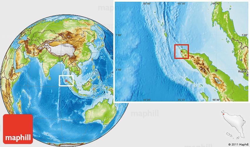 Physical Location Map Of Kodya Banda Aceh