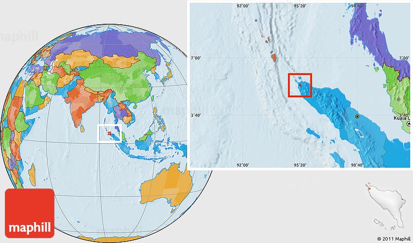 Political Location Map Of Kodya Banda Aceh