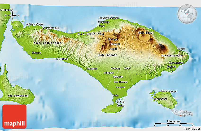 Physical 3D Map of Bali