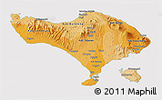 Political Shades 3D Map of Bali, cropped outside