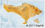 Political Shades 3D Map of Bali, lighten